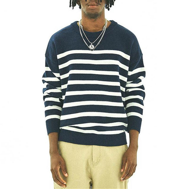 Fashion men's striped knit sweater