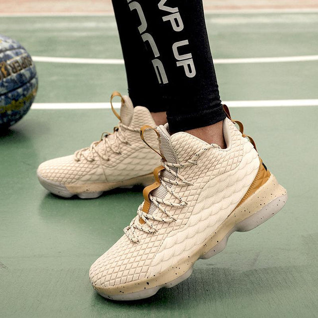 Comfortable flying woven non-slip wearable breathable basketball shoes