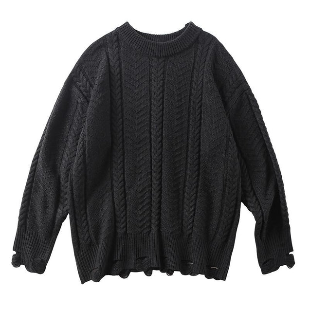 Men's Hole Solid Color Sweater