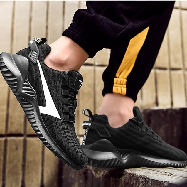 Men's casual color matching striped breathable sneakers