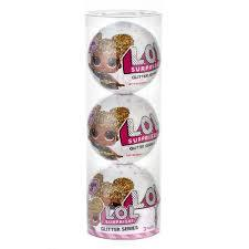 LOL Surprise Giltter Doll Pack of 3 Balls plus Plastic Cylinder Packaging