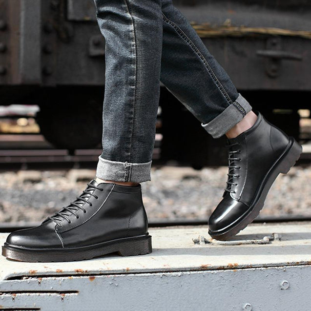 Casual men's lacing pure color tooling boots