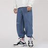 Fashion solid color wide leg drawstring jeans