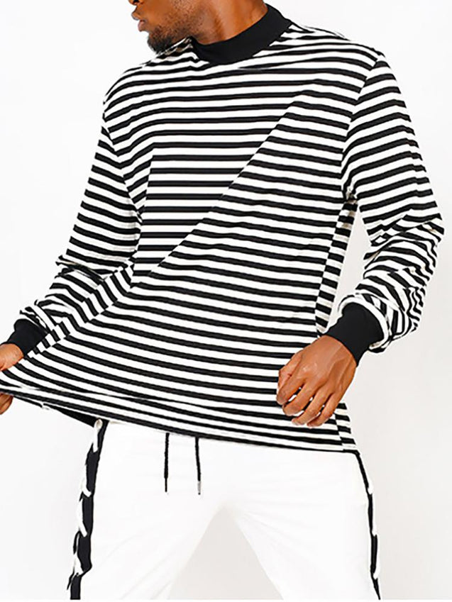 Men'S Casual Round Collar Striped T-Shirt