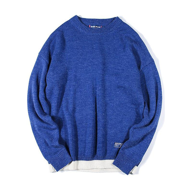 Casual Round Neck Loose Contrast Color Sweater
