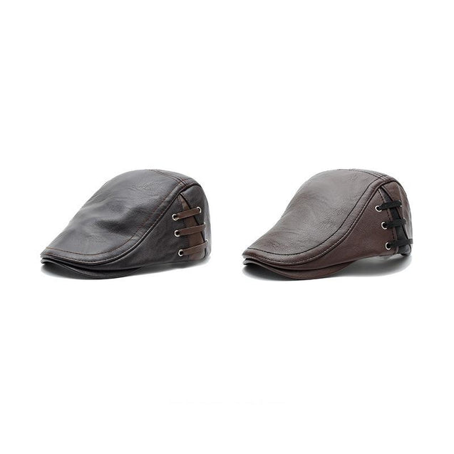 Fashion men's perforated lacing design leather cap