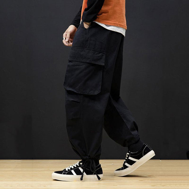 Casual Men'S Loose Waist Pure Color Overalls