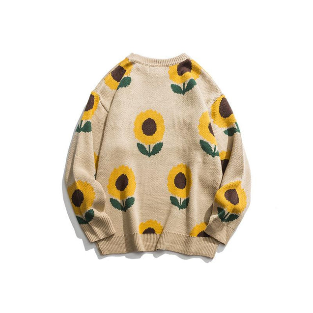 Casual Round Neck Sunflower Printed Colour Sweater