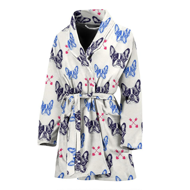 Black Frenchie - French Bulldog Bath Robe Women