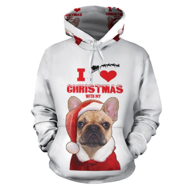 Love Christmas Frenchie - French Bulldog Hoodie