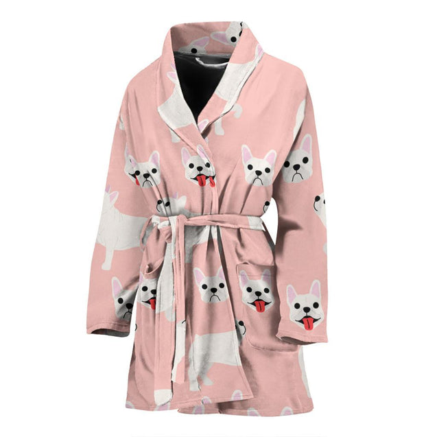 Funny Puppy Frenchie - French Bulldog Bath Robe Women