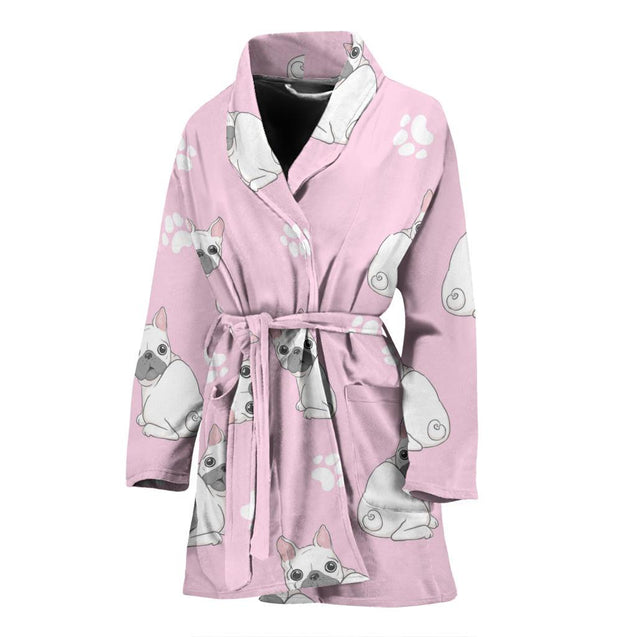 Cute White Frenchie - French Bulldog Bath Robe Women