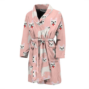 Funny Cute White Frenchie - French Bulldog Bath Robe Men