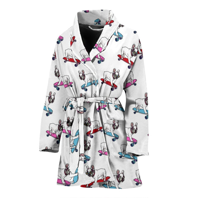 Funny Skateboard Frenchie - French Bulldog Bath Robe Women