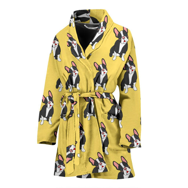 Funny Black Frenchie - French Bulldog Bath Robe Women