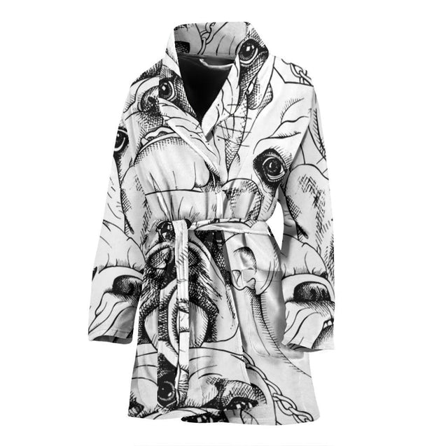 Cool Sketch Frenchie - French Bulldog Bath Robe Women