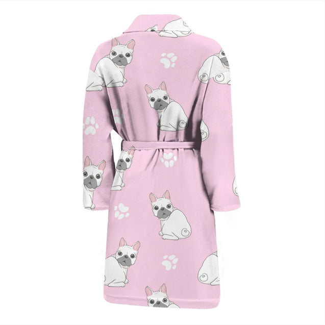 Cute White Frenchie - French Bulldog Bath Robe Men