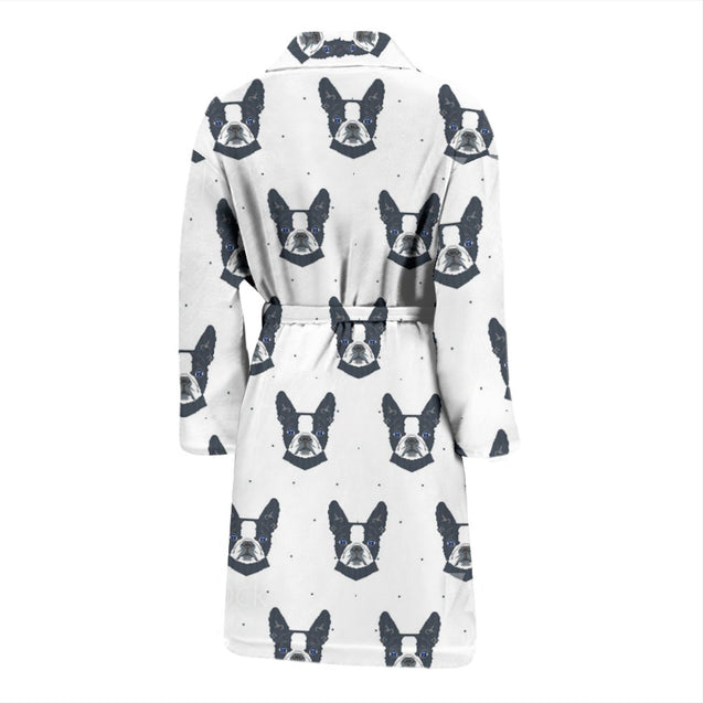 Funny Black Frenchie - French Bulldog Bath Robe Men