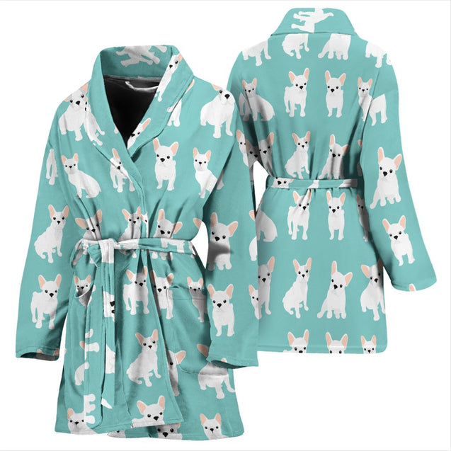 Funny Cute White Frenchie - French Bulldog Bath Robe Women