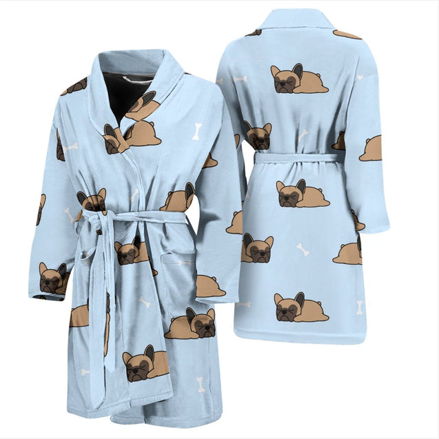 Funny Sleeping Frenchie - French Bulldog Bath Robe Men