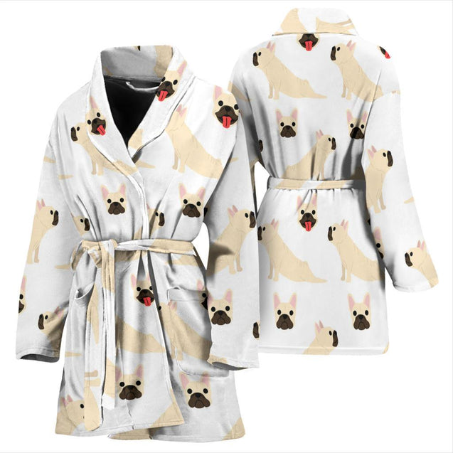 Funny Yoga Frenchie - French Bulldog Bath Robe Women