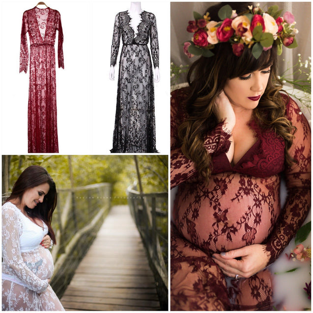 Long Sleeve 'Breathe' Maternity Lace Dress - Photoshoot Ready Apparel !