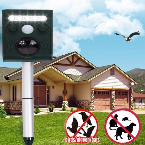 Solar Powered Animal Repeller with LED Light