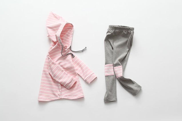 Classic 2-pc Striped Hoody Leg Patch Leggings Set
