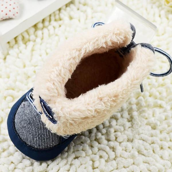 Baby Boy Winter Warm 'Snow-Style' Lace-Up Foldable Soft Boots