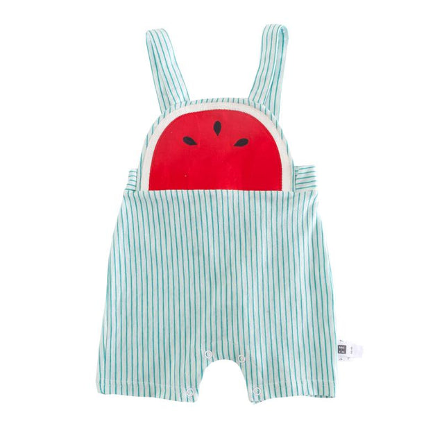 Watermelon Cotton Striped Overalls