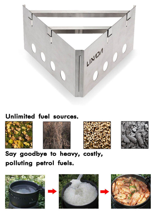 Lixada Outdoor Compact Lightweight  Wood Stove Portable Cooking Picnic Stainless Steel