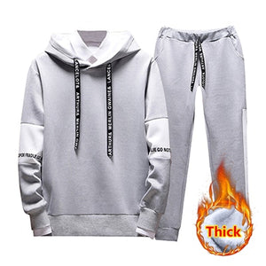 2019 2PC Hoodies Men Spring Autumn Fleece Liner Hooded Sweatshirts + Sweatpants Male Brand Streetwear Solid Warm 2 Pieces Hoody