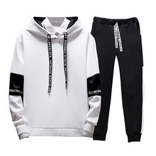 Charger l'image dans la galerie, 2019 2PC Hoodies Men Spring Autumn Fleece Liner Hooded Sweatshirts + Sweatpants Male Brand Streetwear Solid Warm 2 Pieces Hoody