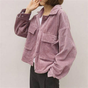 new fall Women baseball Corduroy Jacket Top loose lapel Shirt Coat Casual Vintage Oversize solid color cool short jackets
