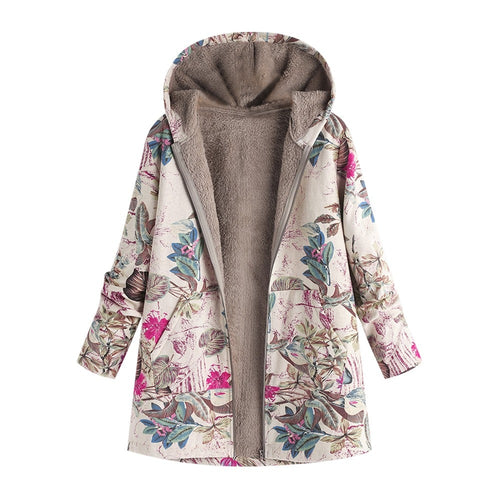 Female Jacket Plush Coat Women's Windbreaker Winter Warm Outwear Floral Print Hooded Pockets Vintage Oversize Coats Plus Size #A
