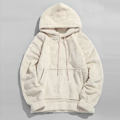 Fluffy Hoodies Men Sweatshirt Solid Autumn Winter warm Long Sleeve Hooded Pockets Hip Hop Harajuku pullover Outwear Moletom 2019