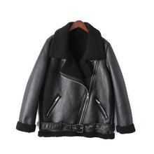 Charger l'image dans la galerie, AOEMQ Retro New Lapel and Velvet Padded Fur One Coat Warm Fashion PU Leather Lamb Hair Motorcycle Clothing Bomber Jacket