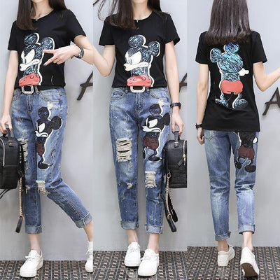 Mickey Shirt Jeans Clothing Set Pants 1928Mickey M Black Tee + Jeans
