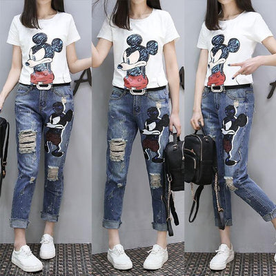 Mickey Shirt Jeans Clothing Set Pants 1928Mickey M White Tee + Jeans