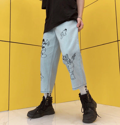 Mickey Streetstyle Loose Jean Pants 1928Mickey Blue S