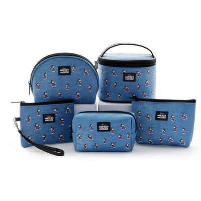Genuine Mickey Mouse Makeup-Bag, Storage Bag -Blue 1928Mickey ALL(5pcs)