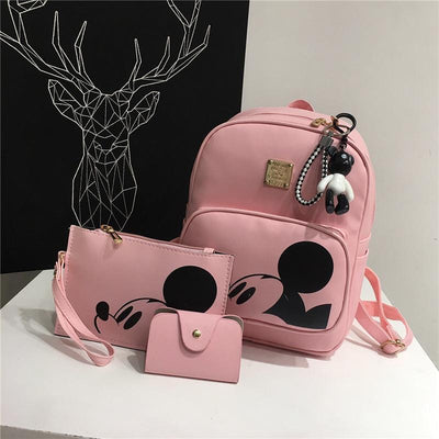 3pcs/set Cute Mouse Portable Composite Backpack For Girls Bag set 1928Mickey Pink