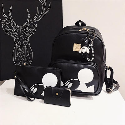 3pcs/set Cute Mouse Portable Composite Backpack For Girls Bag set 1928Mickey Black