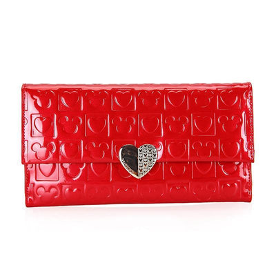 Mickey Mouse heart-shaped long wallet Wallets 1928Mickey RED