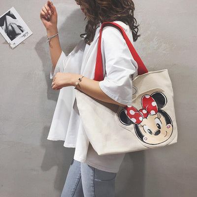 Cute Minnie Mouse Large Capacity Canvas Handbag 1928Mickey