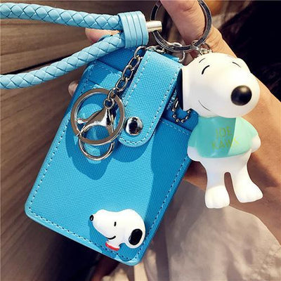 Cartoon Snoopy Style ID Card Bag With Key Ring Wallets 1928Mickey Navy Blue