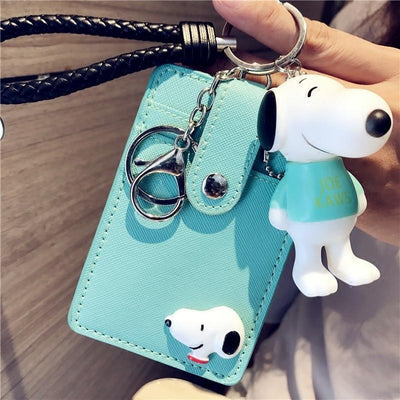 Cartoon Snoopy Style ID Card Bag With Key Ring Wallets 1928Mickey Light Green