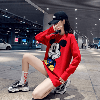 2020 Mickey Mouse Fashion Cute Sweater Clothing 1928Mickey Free Size Red