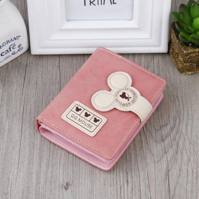 Cute Mouse Classic Leather Wallet Wallets 1928Mickey Pink