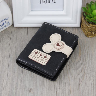 Cute Mouse Classic Leather Wallet Wallets 1928Mickey Black